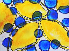 fine art giclee print lemon + blueberry abstract  | abstract organic shapes bright bold yellow and blue shape original contemporary art