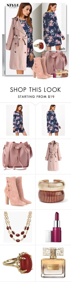 """""""Navy Floral Print Long Sleeve Swing Dress"""" by manuela-cdl ❤ liked on Polyvore featuring Kerr®, Chicwish, Gianvito Rossi, Rosantica, Talbots, Clinique, Vintage and Givenchy"""