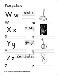 W to Z 1st Grade Worksheets, Handwriting Worksheets, Classroom Board, Tagalog, Alphabet Activities, Writing Practice, Kids Education, Filipino, Kids Learning