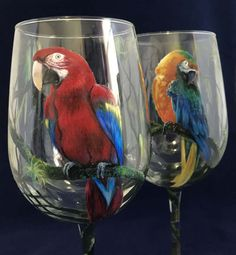 Parrot Wine Glass Hand Painted Blue and Yellow Scarlet Macaw Red Bird Rainforest Jungle Art Exotic Animal Unique Science Wildlife Tropical Decorated Wine Glasses, Hand Painted Wine Glasses, Painted Wine Bottles, Jungle Art, Wine Glass Crafts, Bottle Painting, Painting Patterns, Amazing Art, Glass Art