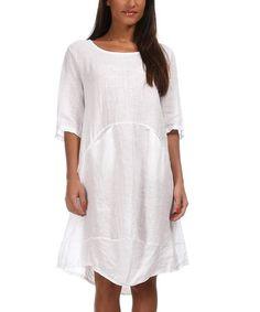 Love this White Jennifer Linen Dress on #zulily! #zulilyfinds