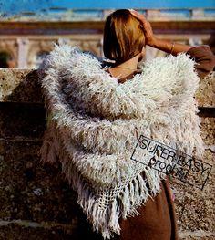 """Easy Shaggy """"Fur"""" Shawl PDF Crochet Pattern by MomentsInTwine on Etsy"""