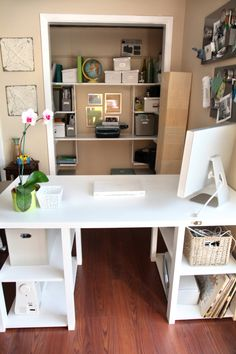 DIY Door Desk - I love this!  already have the desk set up.  need hubby to build the shelves.