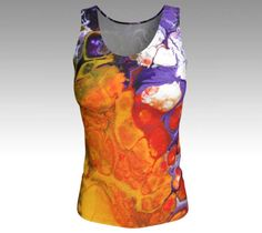 Womens Orange Purple Tank Top,  Fitted Top,  Orange Stretch #tanktop #women #fashion #instyle #gym #workout #motivation #orange #purple #tees #clothes #art #abstract #modern #contemporary #unique #musthave #customdesign #workout #style #colorful #tops #stretchytop #jerseyfabric #artprint #summer #nyc #LES #artist #painter