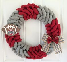 Ohio State University burlap wreath Ohio State by TheCraftinBear