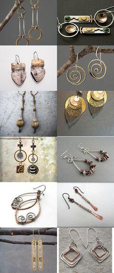 handmade mixed metal earrings by mysugarbear on Etsy--Pinned with TreasuryPin.com