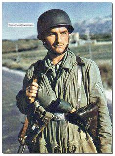 A German paratrooper in full battle dress
