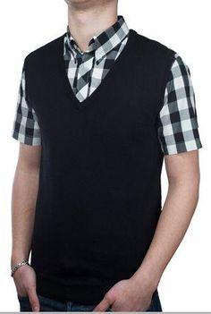 Gary - Sleeveless V Neck Slipover - Black