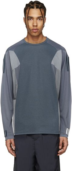 adidas x White Mountaineering - Grey & Blue Panelled T-Shirt