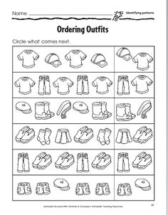 ordering outfits sheet MATHEMATIC HISTORY Mathematics is one of many oldest sciences in human history. Pattern Worksheets For Kindergarten, Therapy Worksheets, Worksheets For Kids, Maze Worksheet, Math Patterns, Math Sheets, Montessori Art, Pattern Recognition, Preschool Learning Activities
