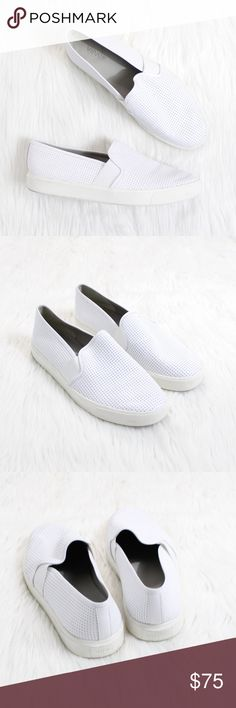 VINCE Blair Slip-On Sneaker in Perforated White Gently used condition!  Size: 8.5 Color: Perforated White  Go for mod metropolitan style with a slip-on sneaker sporting a perforated leather upper and a bumper sole.  Timeless aesthetics meet modern sophistication in Vince's collections of iconic, wearable essentials—always focusing on distinctive design, enduring style and uncompromising quality.  Elastic insets for a snug fit. Calfskin upper/leather lining/rubber sole. Imported. Vince Shoes…