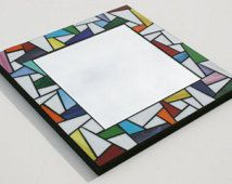 "& & & & Stained glass mosaic mirror - with colorful Accents 12 ""x Stained Glass Mirror, Mirror Mosaic, Mirror Tiles, Mosaic Pots, Mosaic Glass, Mirror Inspiration, Glass Picture Frames, Mosaic Madness, Stained Glass Patterns"