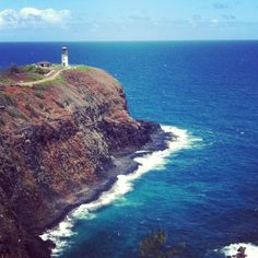 Kilauea Point, on the island of Kauai in Hawaii overlooking a lighthouse on the edge of the cliff. Filtered via Instagram.
