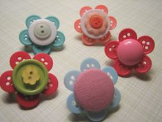 Button Flowers for gift tags