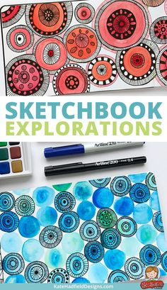 Sketchbook exercises and art journal pages inspired by Lisa Congdon's Sketchbook Explorations course - this is a really fun course to jump-start your creativity and get you playing in your sketchbook! Sketchbook drawings, mixed media and art journal pages from Kate Hadfield.