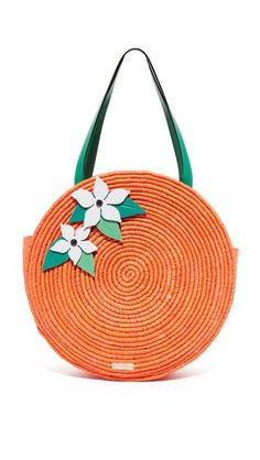 Kate Spade New York Straw Orange Tote
