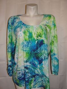 Chico's Top Women's Sz 3 XL Blue Green Wht Paisley 100% Rayon 3/4 Sleeve Shirt #Chicos #KnitTop #Casual