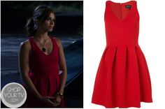 The Lying Game: Season 2 Episode 9 Emma's Red V Neck Dress Emma Becker (Alexandra Chando) wears this red ribbed v neck pleated skater dress in this week's episode of The Lying Game.