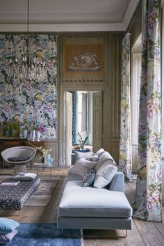 Designers Guild Delft Flower Sky wallpaper and fabric