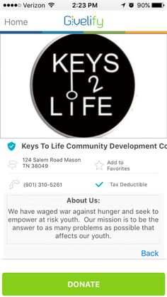 Keys to Life Community Development Corporation in Mason, Tennessee #GivelifyNonprofits