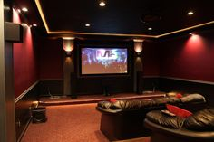 Featured, Elegant Black And Red Theater Room Theme Colors Combined With Brown Leather Seating Plus Low White Lighting Decor ~ Incredible Theater Idea Application inside your Home