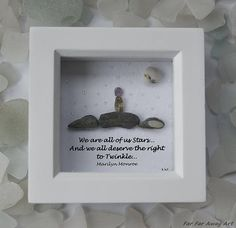 Pebble Art Gift, Birthday Gift, Marilyn Monroe Quote, Gemstone Picture, Daughter Gift, Friend Gift, Motivating Quote, Far Far Away Art