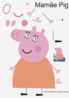 : Upon request - Moulds Peppa Pig and the gang Molde Peppa Pig, Cumple Peppa Pig, Pig Crafts, Felt Crafts, Paper Crafts, Peppa Pig Familie, George Pig, Pig Birthday, Pig Party