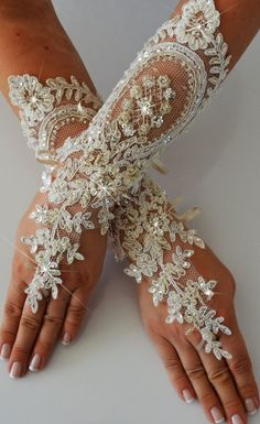 I wish these were over the elbow! I love it! Wedding Glove ivory lace gloves Fingerless Glove by newgloves, $35.00