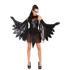 Wet look Raven/Swan costume. 5 piece set includes sheer nylon teddy with attached feather neck trim, tulle tutu, pleather tail, winged gloves and elastic ballerina ties. Style number available in O/S. Animal Costumes For Adults, Adult Costumes, Costumes For Women, Dance Costumes, Raven Costume, Bird Costume, Black Costume, Rainbow Dash Kostüm, New Halloween Costumes