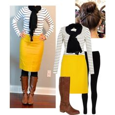 """Yellow And Stripes!"" by cesmithe on Polyvore"