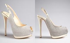 OH MY GOD.  THESE ARE IT.  BLOOMINDALES $795 Giuseppe Zanotti Peep Toe Platform Evening Pumps - Sparkle