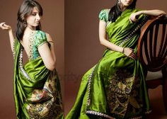 Silk Saree Blouse with Puffed Sleeves