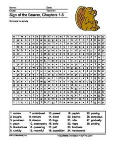 The Sign Of The Beaver Word Search Printable Sign Language Phrases Beaver Vocabulary Activities