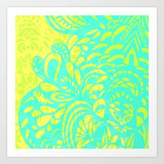 Amorph - lemon & lime Art Print by Cally Creates - part of the Amorph collection that has hints of neon