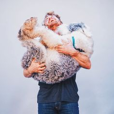 """campbrandgoods: """" From the blooper reel of our product photos - this winter's best accessory is an Old English Sheepdog #campbrandgoods #FW1415 """""""
