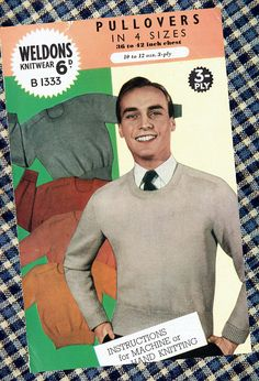 Items similar to Original Vintage Weldons Knitting Pattern Mens EASY Pullover Sweaters Machine Knitting Larger Sizes Dapper Gentleman War Time on Etsy Craft Patterns, Sewing Patterns, Crochet Patterns, Fair Isle Knitting Patterns, Retro Clothing, Easy Knitting, Vintage Knitting, Retro Outfits, Haberdashery