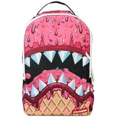 Sprayground Men Ice Cream Shark Dlx Printed Backpack ($91) ❤ liked on Polyvore featuring men's fashion, men's bags, men's backpacks, multi and mens backpacks