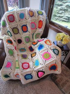 GRANNY SQUARE BLANKET. Reduced Bright Beautiful by Bluetulipgifts