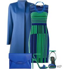A fashion look from February 2014 featuring green dress, button coat and blue sandals. Browse and shop related looks. Classy Outfits, Chic Outfits, Pretty Outfits, Dress Outfits, Fashion Outfits, Womens Fashion, Work Fashion, Daily Fashion, Fashion Looks