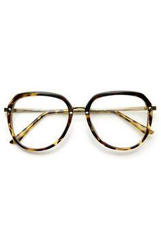 63537c5a0a 80s retro tortoise Clear Round Glasses