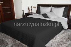 Czarno szare dwustronne koce i narzuty na łóżka do sypialni