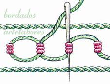 Puntos lineales de fantasía (pág.2) Embroidery Stitches Tutorial, Learn Embroidery, Ribbon Embroidery, Cross Stitch Embroidery, Embroidery Patterns, Crazy Quilt Stitches, Needlepoint Stitches, Needlework, Quilt Stitching