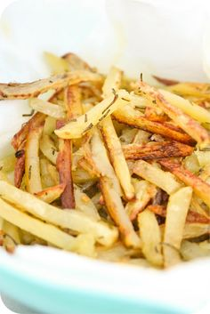 Garlic Rosemary French Fries. I ordered Smash Burger Online, and forgot to add the fries, so I found this recipe. I already had frozen fries so that made it super easy!