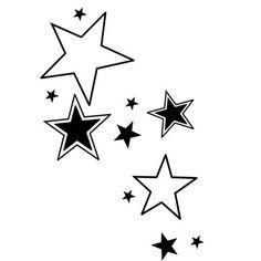 Schwarze und weiße Sternen Tattoo