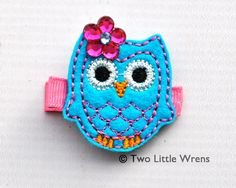 Felt Owl Hair Clip  Turquoise and Hot Pink Owl by twolittlewrens, $5.00