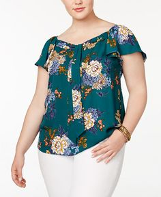 Monteau Trendy Plus Size Flutter-Sleeve Top - Green Neck Designs For Suits, Kurti Neck Designs, Blouse Designs, Plus Size Peplum, Plus Size Dresses, Plus Size Outfits, Unique Fashion, Boho Fashion, Fashion Tips