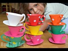 Paper Teacups How To and Printable Pattern  ...  . These Paper Teacups are super cute and fun to make. Perfect for an Alice in Wonderland Party or Wedding theme. Or make a set for a teddy bear's picnic.. Tutorial, Paper, Tuto,
