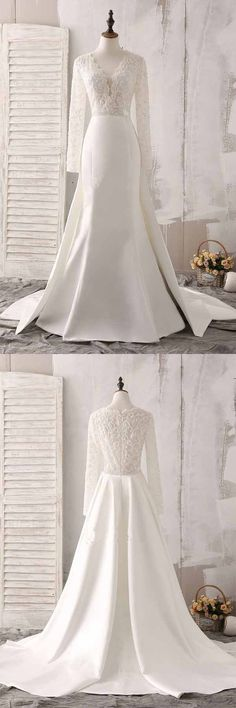 Ivory Lace and Satin V-neck Long Sleeve Beaded Wedding Dress WD144