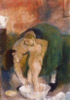 Esti fürdetés (Evening bathing)   1935 tempera on canvas 100 x 70 cm