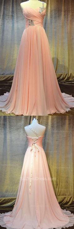 One Shoulder Chiffon Bridesmaid Dresses 2015 Sweep Train Lace-up Sequins Beading Dresses